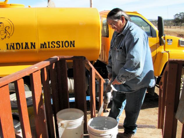 As the only member of her extended family with running water, Arviso finds that her sisters, her four adult children and her grandchildren all must stop by regularly to take care of necessary chores — and even just to fill up their own containers.