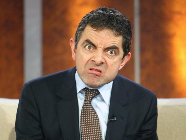 Rowan Atkinson gestures during an interview in 2007. The famous British comedian who plays Mr. Bean is selling his McLaren F1 race car.