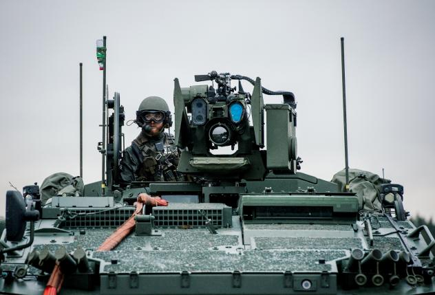 A soldier from the Swedish army participates in a military exercise at Hagshult Airbase in Sweden in November.