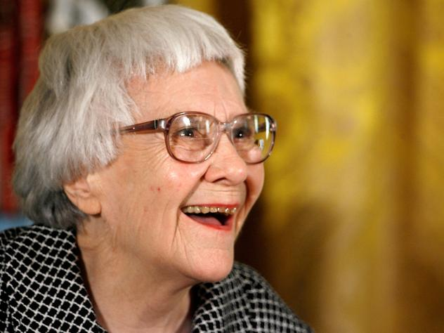 Harper Lee, seen here receiving the Presidential Medal of Freedom in 2007, actually wrote <em>Go Set a Watchman </em>first. But she set it aside when her editor suggested focusing on Scout's flashbacks instead — and she did, in what became <em>To Kill