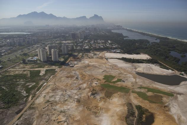 Rio de Janeiro Mayor Eduardo Paes (right) visits the construction site of the Olympic Park for the Rio 2016 Olympic and Paralympic Games, at Barra da Tijuca, in Rio de Janeiro, Brazil, on Dec. 19, 2014.