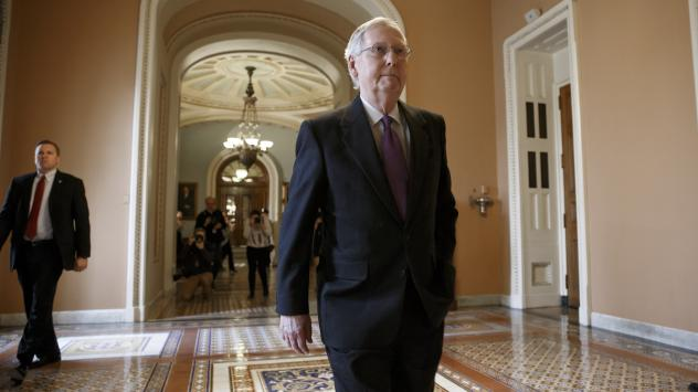 Senate Majority Leader Mitch McConnell of Kentucky returns to his office on Capitol Hill in Washington on Jan. 29, 2015.
