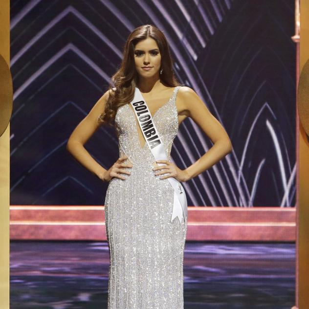 Miss Colombia Paulina Vega poses during the Miss Universe pageant in Miami, on Jan. 25. Vega has been invited to participate in peace talks between her country's government and Marxist rebels.