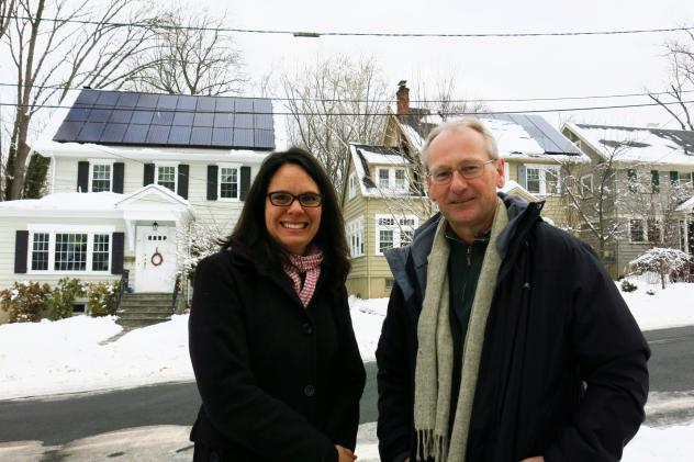 Elizabeth Ebinger in Maplewood, N.J., bought her solar panels, while neighbor Tim Roebuck signed a 20-year lease. Both are happy with the approach they took, and both are saving money on energy bills.