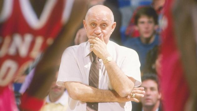 Head coach Jerry Tarkanian watches his UNLV Runnin' Rebels during the 1989-1990 season, when they would win the school's only NCAA men's basketball championship. Tarkanian died Wednesday at age 84.