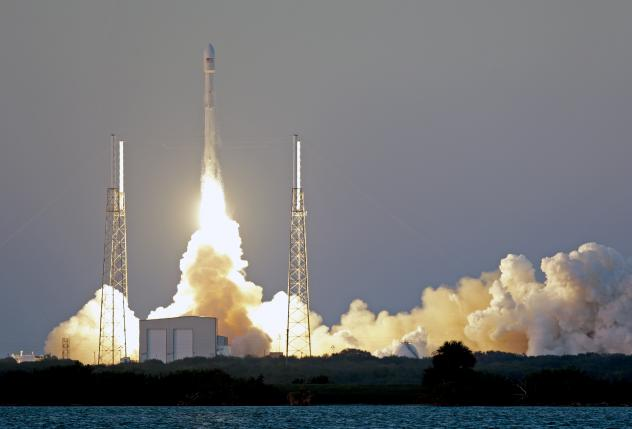 An unmanned Falcon 9 SpaceX rocket lifts off from launch complex 40 at the Cape Canaveral Air Force Station in Cape Canaveral, Fla., on Wednesday. On board is the Deep Space Climate Observatory.