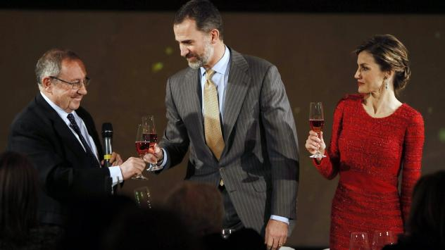 Spain is exporting record amounts of wine. Earlier this year, Spain's King Felipe VI (center) and Queen Letizia toasted with Freixenet president Josep Lluis Bonet during a visit to the winemaker's headquarters in Sant Sadurni d'Anoia, Spain.