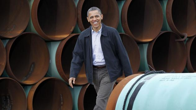 President Obama arrives at the TransCanada Stillwater Pipe Yard in Cushing, Okla., in 2012 after renewed momentum in Congress to approve construction of the northern leg of the Keystone XL pipeline.