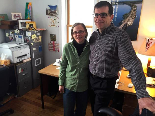 Front Porch Forum co-founders Michael and Valerie Wood-Lewis run the company from their home office in Burlington, Vt.
