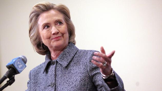 Hillary Clinton speaks to the media after keynoting a Women's Empowerment Event at the United Nations on Tuesday in New York City. Clinton answered questions about recent allegations of an improperly used email account during her tenure as secretary of s