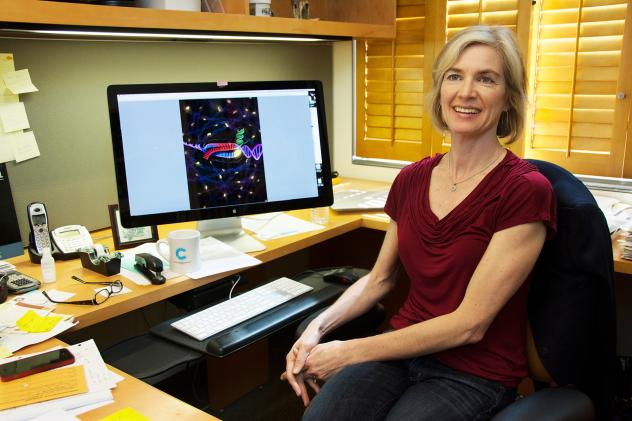 Microbiologist Jennifer Doudna at the University of California, Berkeley. She's co-inventor of the CRISPR-Cas9 technology — a tool that's recently made the snipping and splicing of genes much easier.