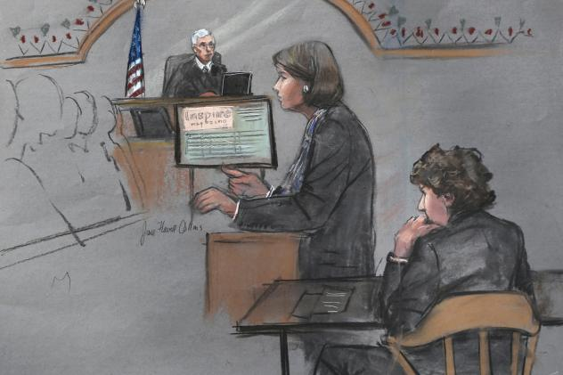 In this courtroom sketch, defense attorney Judy Clarke is depicted addressing the jury as defendant Dzhokhar Tsarnaev sits during closing arguments in his federal death penalty trial on Monday.
