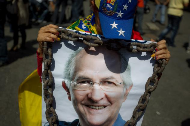 Opposition supporters in Caracas protest against the Venezuelan government and in support of jailed opposition leaders Leopoldo Lopez and Antonio Ledezma on Feb. 28.