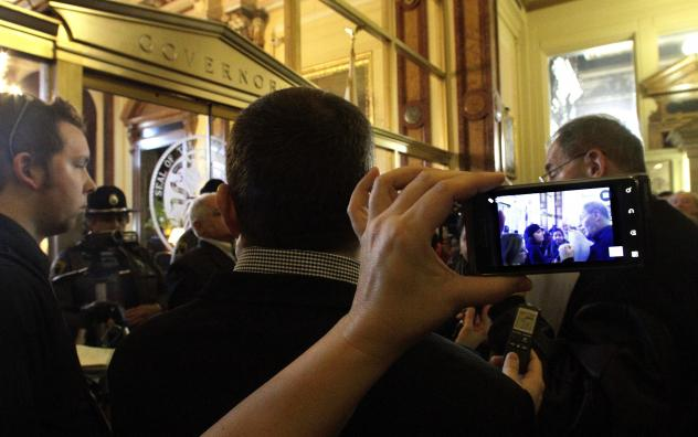 Cell phones were used to record a 2012 confrontation between protesters and the Illinois Secretary of State Police in Springfield, Ill.