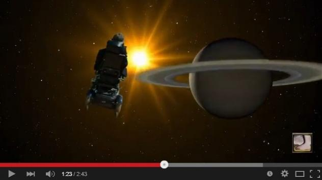 Stephen Hawking flying through the universe in a new video of Monty Python's <em>Galaxy Song</em>.