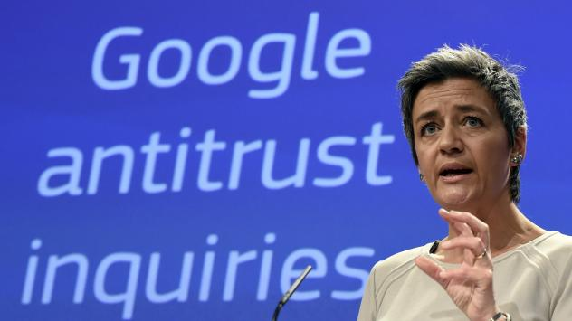 European Competition Commissioner Margrethe Vestager announces formal charges against Google, accusing the company of abusing its dominant position as Europe's top search engine.