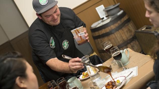 The Brooklyn Brewery served venison tartar for a dinner party inspired by the local cuisine of Dutch settlers and Native Americans in the 1650s.