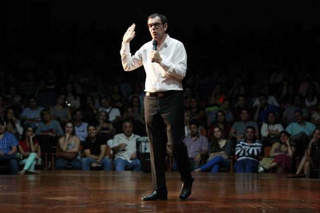 Venezuelan comedian Laureano Marquez performs a stand-up routine at a theater in Caracas last year. Marquez says the government is now cracking down on comedians who make jokes about the government and the country's economic problems.