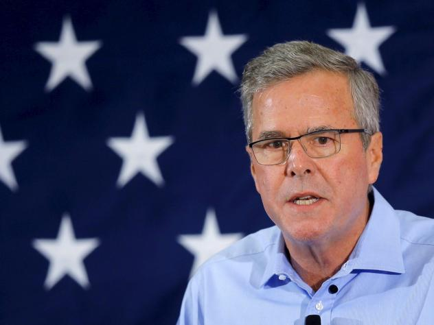 """""""Exploratory"""" Republican presidential candidate Jeb Bush speaks April 17 at the First in the Nation Republican Leadership Conference in Nashua, N.H. His super PAC — Right to Rise — is aiming to raise $100 million dollars by June 1."""