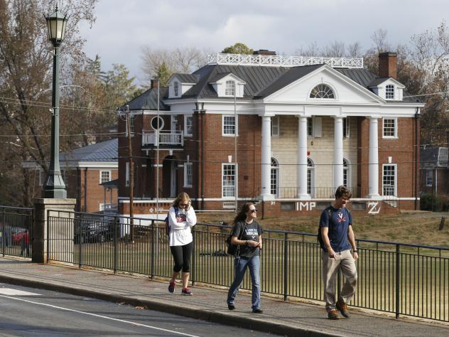 The Phi Kappa Psi fraternity house at the University of Virginia in Charlottesville, Va. That fraternity was implicated in a now discredited <em>Rolling Stone</em> story about a rape on campus. A dean named in the piece is suing the magazine for $7.85 mi