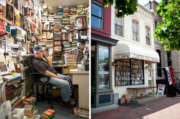 """Capitol Hill Books owner Jim Toole runs the front register of his used bookstore several days a week. He's banned several words from his store, including """"awesome,"""" """"perfect"""" and, of course, """"Amazon."""""""