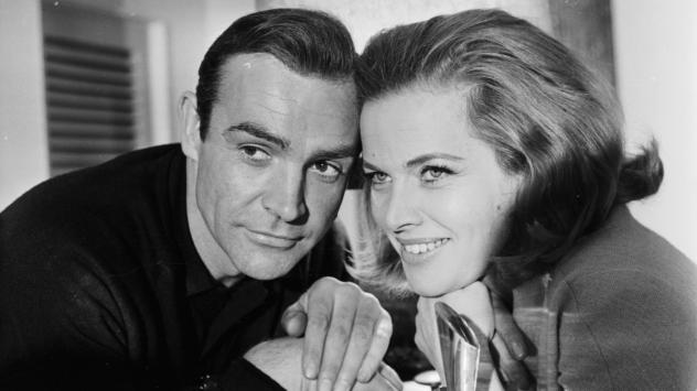 A return to Pussy Galore's golden days: Honor Blackman, who played the character on screen in <em>Goldfinger</em>, poses with the original Bond, Sean Connery.