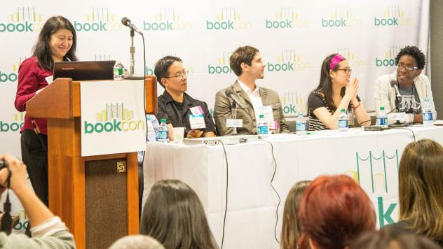 In 2014, BookCon responded to the We Need Diverse Books campaign by inviting it to form its own panel. Pictured here, left to right: I.W. Gregorio, Mike Jung, Matt de la Pena, Grace Lin and Jacqueline Woodson.