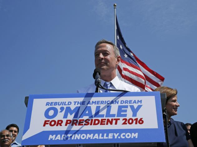 Former Maryland Governor Martin O'Malley as he announces his intention to seek the Democratic presidential nomination during a speech in Federal Hill Park in Baltimore, Maryland.