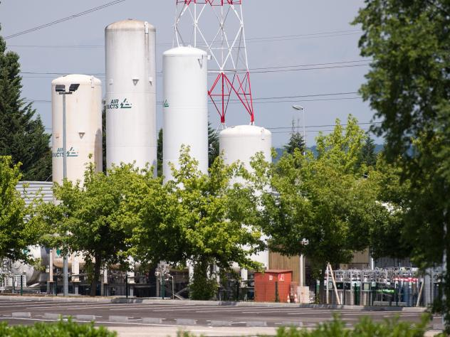 The Air Products industrial gas factory in Saint-Quentin Fallavier, France, shown on Saturday, a day after the attack.