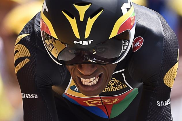 Eritrea's Daniel Teklehaimanot competes in a 13.8 km individual time-trial, the first stage of the 102nd edition of the Tour de France cycling race on July 4, 2015, in Utrecht, The Netherlands.