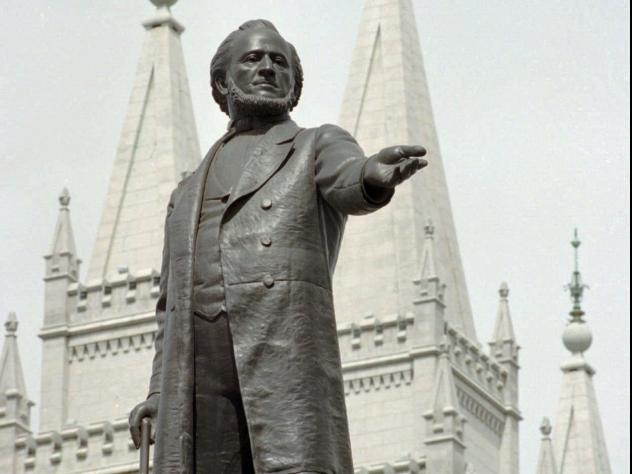A statue of Mormon pioneer leader Brigham Young at The Church of Jesus Christ of Latter-day Saints' Temple in Salt Lake City.