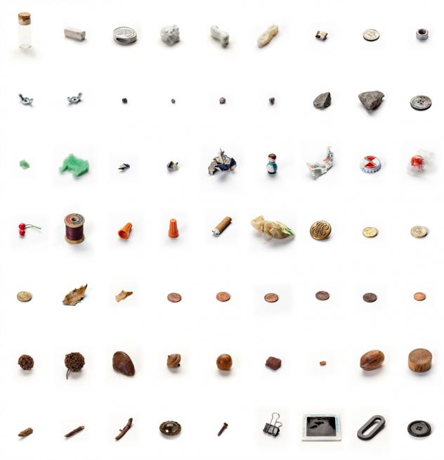 "A piece by conceptual artist Lenka Clayton called ""63 Objects Taken from My Son's Mouth."""
