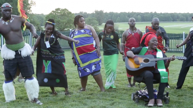 """Grace Jerry performs her original single """"E Go Happen"""" at a gathering of young African leaders at Monticello, Thomas Jefferson's home. The lyrics say: """"Yes we can, sure we can change the world."""""""