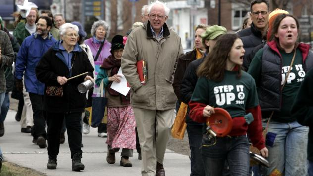 """In 2007, Bernie Sanders took part in a Vermont walk for """"Step It Up 2007,"""" a movement aimed at reducing carbon emissions 80 percent by 2050."""