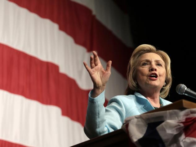 """Democratic presidential candidate Hillary Clinton speaks at the Iowa Democratic Wing Ding at the Surf Ballroom on Friday. Appearing at the Iowa State Fair on Saturday, she said the controversy over her emails was the """"usual"""" politics."""