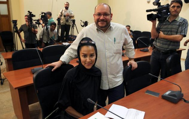 """<em>Washington Post</em> Iranian-American journalist Jason Rezaian, seen here with his wife, Yeganeh Salehi, has been held prisoner since he was arrested in Tehran last July. On Thursday, a powerful Iranian politician said of a potential prisoner swap, """""""
