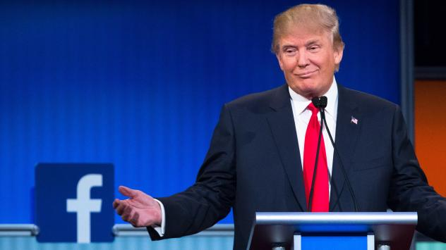 Republican presidential candidate Donald Trump participates in the first Republican presidential debate Aug. 6 at Quicken Loans Arena in Cleveland.