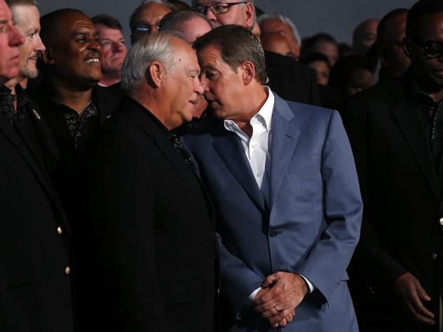 United Auto Workers President Dennis Williams (left) and Ford Motor Executive Chairman William Clay Ford, Jr., at a ceremony marking the opening of contract negotiations in July.