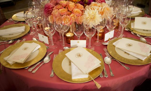 The tables are set in the State Dining Room of the White House for Friday's state dinner honoring visiting Chinese President Xi Jinping.