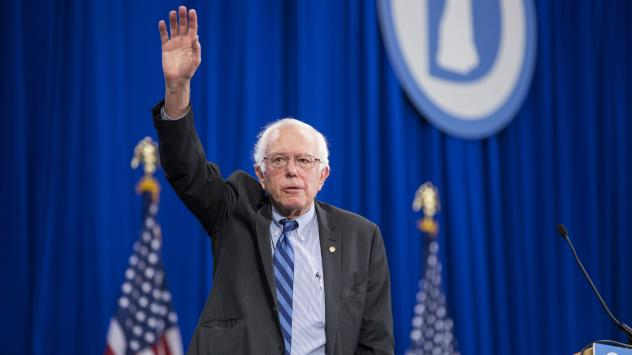 Bernie Sanders waves as he leaves the New Hampshire Democratic Party State Convention last month.