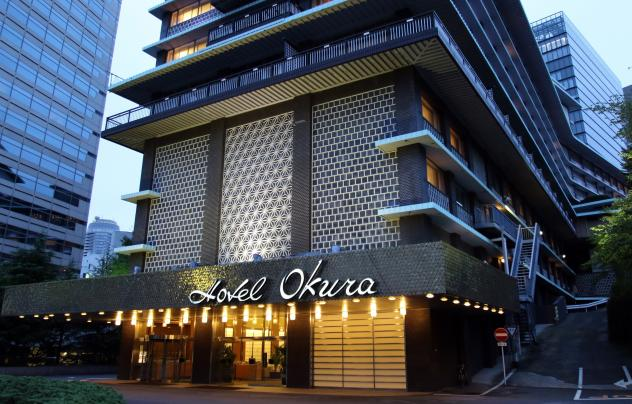 Hotel Okura's south building is remaining open during the renovation. The lobby, seen here, is similar to the main building in its mid-century modern design, but the south building is considered less architecturally significant overall.
