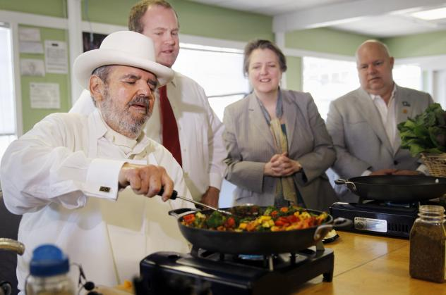 Chef Paul Prudhomme made up blackened fish, dredging a fish fillet in a spice blend and cooking it in a very hot cast iron skillet.
