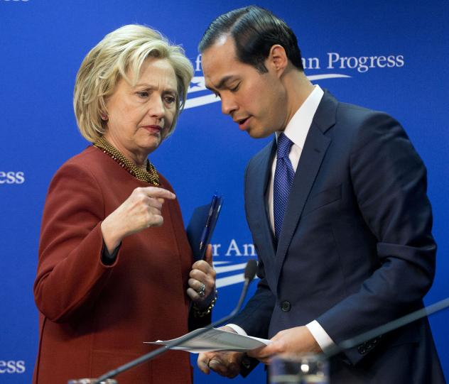 Hillary Clinton talks with Housing and Urban Development Secretary Julian Castro after both spoke at an event in March.