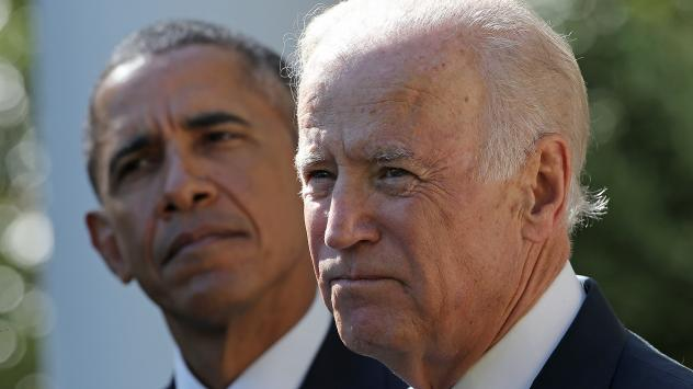 Vice President Biden (right) announces in the Rose Garden of the White House on Wednesday that he will not seek the presidency.