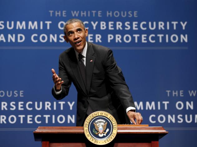 """President Obama, seen at a cybersecurity summit in Palo Alto, Calif., in February. The White House has called the Cybersecurity Information Sharing Act an """"important building block."""""""