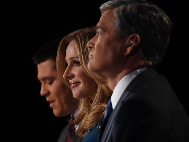 """CNBC debate moderators Carl Quintanilla (from left), Becky Quick and John Harwood were widely panned for their questions. The RNC is the latest critic, calling them """"inaccurate or downright offensive."""""""