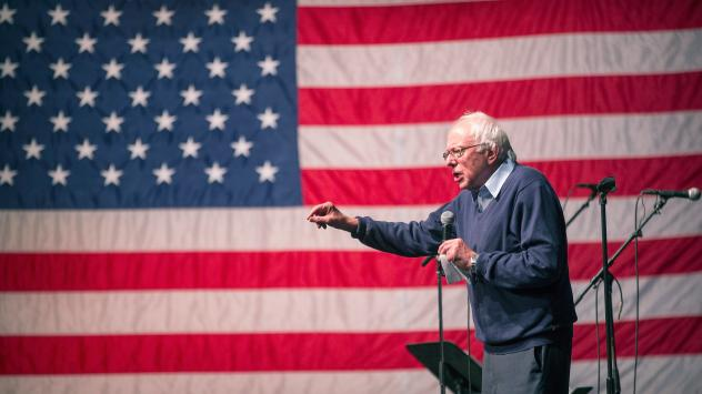 Democratic presidential candidate Senator Bernie Sanders of Vermont speaks at a concert he was hosting to raise support for his campaign at the Adler Theater on October 23, 2015 in Davenport, Iowa.