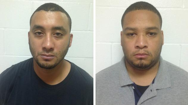 City marshals Norris Greenhouse, left, and Derrick Stafford are seen in their booking photos provided by Louisiana State Police in New Orleans. The pair were arrested Friday on charges of killing a 6-year-old boy and critically wounding his father during
