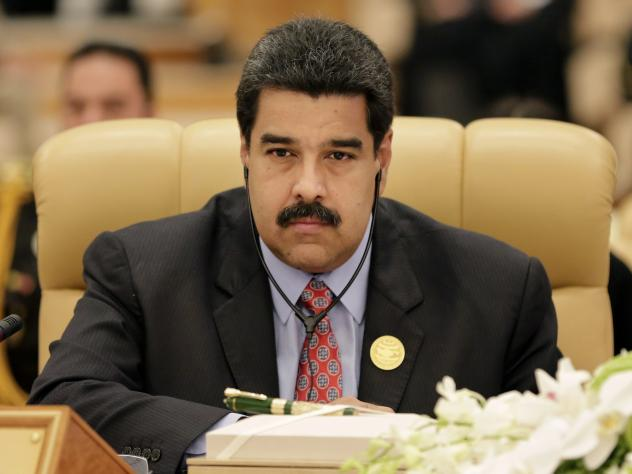 Venezuelan President Nicolas Maduro, shown at a summit in Saudi Arabia on Wednesday, declined to answer reporters' questions about the arrests Tuesday of two of his relatives.
