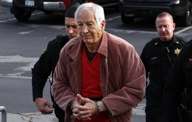 Former Penn State University assistant football coach Jerry Sandusky arrives for a hearing last month at the Centre County Courthouse in Bellefonte, Pa.